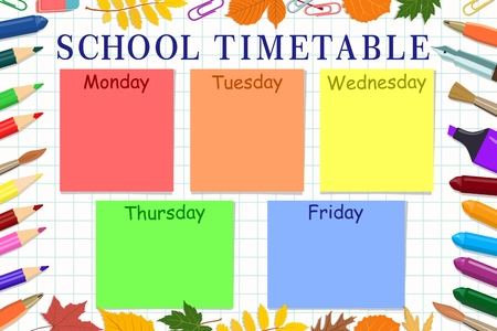 Vector template school schedule with school stationery and autumn leaves against a white sheet notebook. Concept of school lessons. Illustration