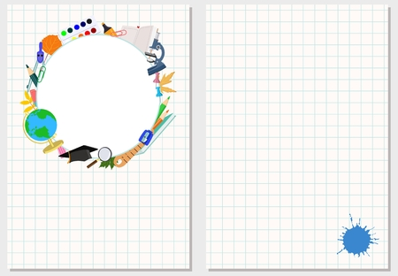 Vector template greeting card or banner on the theme of school holidays, classes and ads with space for text. Stylized stationery on the notebook sheet