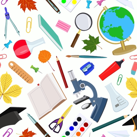 Vector pattern with various school supplies on white background. Çizim