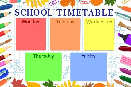 Vector school schedule for children with days of the week with a colored pencils, paper clips and leaves. Çizim