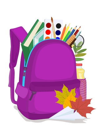 Vector image of school purple backpack with office supplies on white background. Back to school.