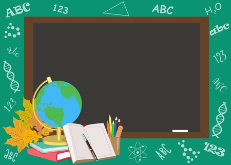 Back to school poster design with school subjects. Vector illustration