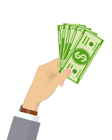 Vector icon with hand holding green paper money, isolated on white background. Dollars. Currency.