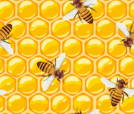 Vector pattern with working bees on honeycomb in orange tones. Suitable for packaging of finished products of beekeeping, decor, wallpaper, web page, textile products. Unconventional organic medicine. Standard-Bild - 108149279