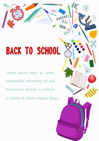Vector poster with an open school backpack and notebooks, stationery, microscope and alarm clock, leaves and place for text on white background. Çizim