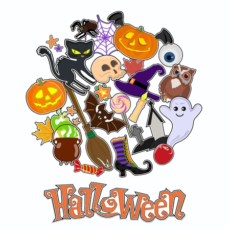 Halloween sticker background design. Trick or treat. Vector illustration. Standard-Bild - 108640989