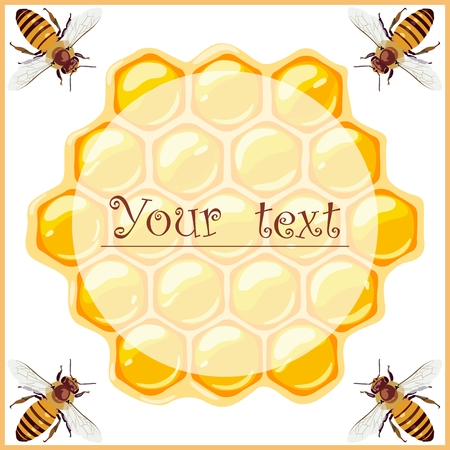 Promo label with bees and honeycomb. Beekeeping products. Vector illustration. Standard-Bild - 108640990