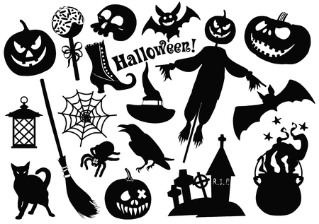 Halloween monochrome stickers set on white background. Halloween traditional symbols and signs pumpkin and scarecrow, black cat, skull and bones, cobweb and cauldron, sweets. Stok Fotoğraf
