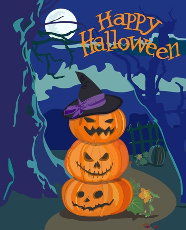 Vector horizontal poster with jack-o'-lanterns (Halloween pumpkins) on the night background. Standard-Bild - 109954298