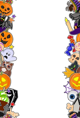 Vector poster with stylized symbols on Halloween stickers on white background with place for text. Standard-Bild - 109977018