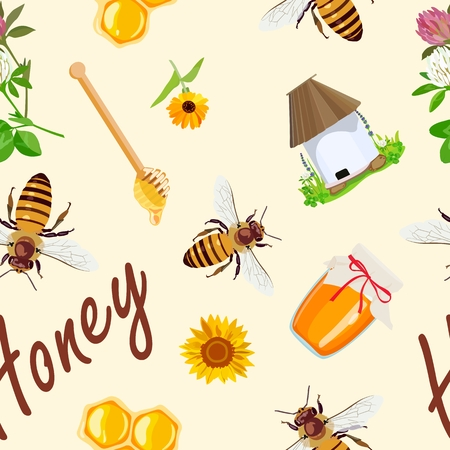Seamless pattern with design of beekeeping products. Honey. Vector illustration