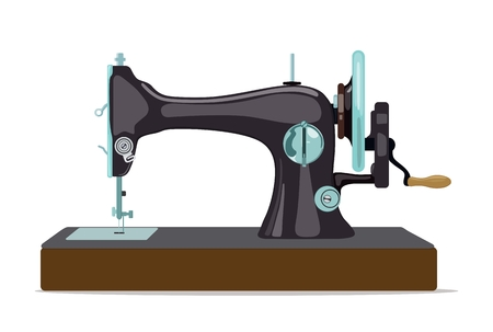 Sewing machine for sewing and embroidery. Home equipment. Vector illustration. Standard-Bild