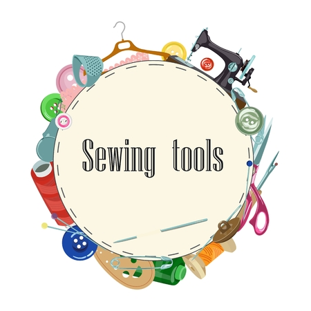 Vector background with colored tools and objects for sewing on white background with place for your text. Buttons, zip, needles and scissors, pins and threads for atelier and home needlework.