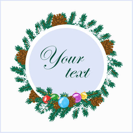 Christmas wreath design with place for text. Vector illustration. Standard-Bild - 112057158