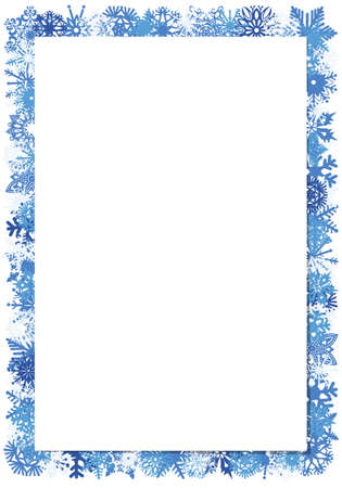 Vector winter frame with blue and blue snowflakes on white background. Place for your text, congratulations, letters, invitations. Standard-Bild - 112057159