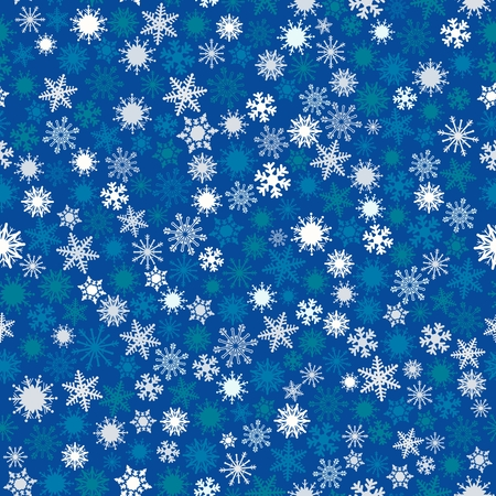 Vector pattern of snowflakes of different sizes and colors on blue background. Elegant background for wallpaper, gift paper, textiles, curtains.