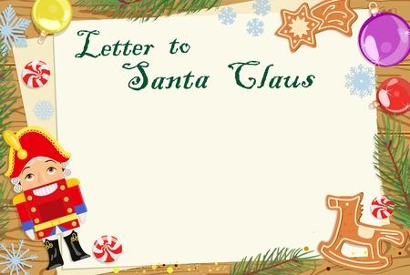 Christmas Letter for Santa Claus. Postcard. Vector illustration. Иллюстрация