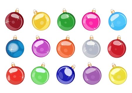 Vector collection of Christmas balls in different colorful colors. Bright holiday decorations.