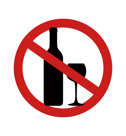 Stop alcoholic beverages. Silhouette of bottle for alcohol. Vector illustration Standard-Bild - 125706117