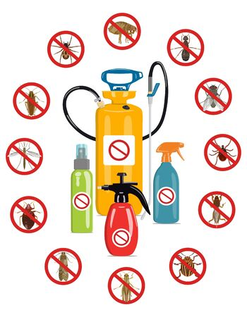 Vector set of insecticide vials surrounded by harmful insect icons on a white background. The concept of the destruction of harmful insects in the house and agriculture.