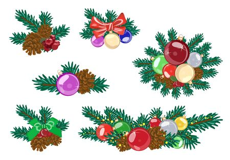 Colorful decorations from spruce bouquets for the winter holidays. Vector illustration Ilustracja