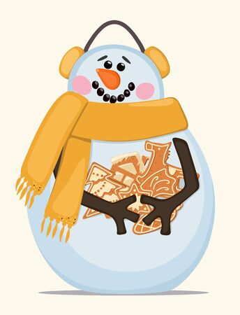 Vector image depicting snowman, curly festive gingerbread cookies with headphones and yellow scarf on light background. Concept of festive winter symbols.