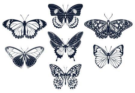 Satz von Schmetterlingen-Symbol-Silhouetten. Vektor-Illustration.