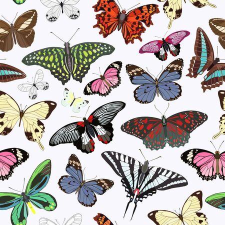 Seamless pattern of multi-colored butterflies on a light background Vector illustration. Vektorgrafik