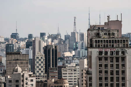 View of the metropolis of San Paolo, in Brazil from the roof of a nervy office building