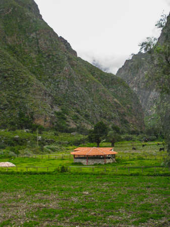 A new stable in the heart of the Andes mountains. Inca Trail. Peru. South America. No people.