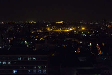 View at night from a high window of the metropolis with lights on. Brazil. South America. No people.