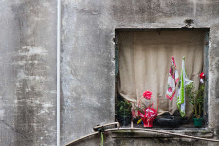 View from a window with a creamy closed curtain of an eroded building with a pink flower and a Brazilian flag hanged on the outside.