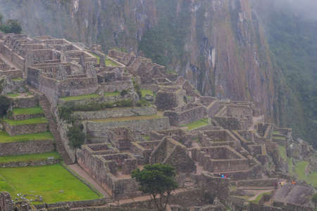 Beautiful landscape of Machu Picchu lost city in nature on the Andes mountains. Peru. South America No people. Stock Photo