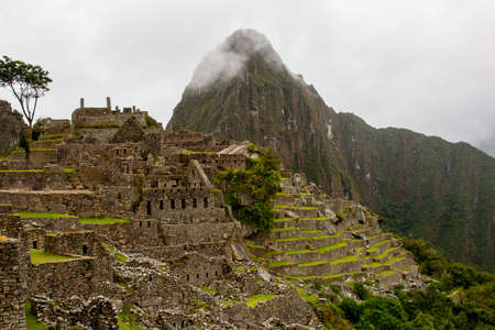 Beautiful wallpaper photo of Machu Picchu ruins and agriculture terraces with mountain with fog in the background. No people.