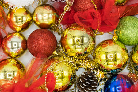 Christmas vibrant colorful wallpaper background texture of balls and decorations for the celebration tree. Stock Photo