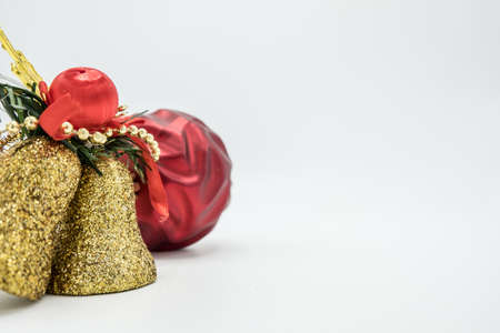 Holidays wallpaper background of colorful Christmas decorations isolated on white background. Stock Photo
