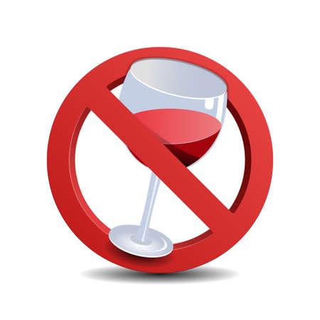 no alcohol: No alcohol sign, isolated on white background Illustration