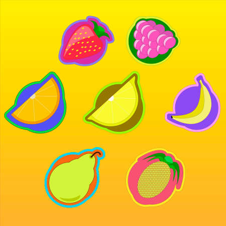 limon: Colorful fruits and berries icon set