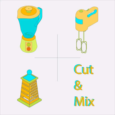 KITCHEN APPLIANCES: Isolated isometric colorful kitchen appliances for cutting and mixing food
