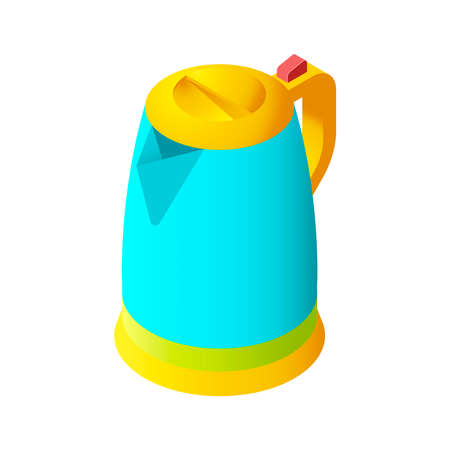 electric kettle: Colorful isolated isometric electric kettle for modern interior and game design