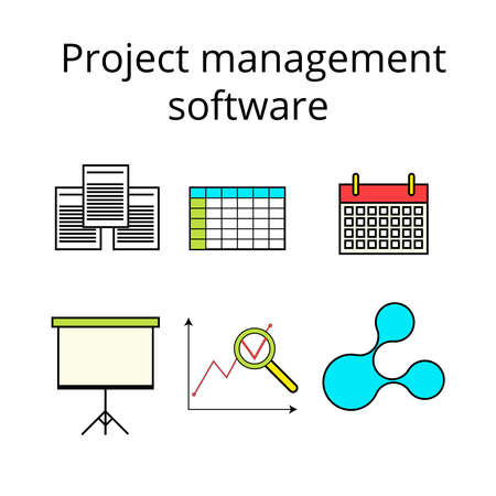 executing: Project management software icons set in colored line style
