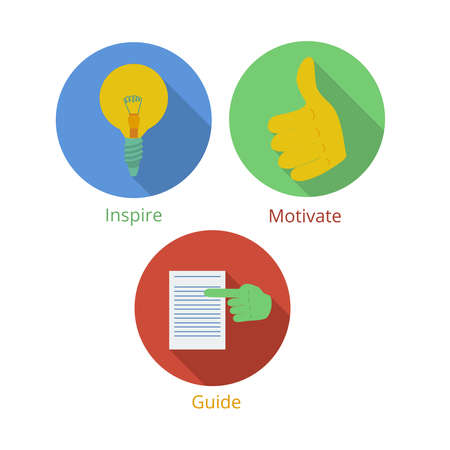 manager team: Project manager responsibilities in communication with team icons set in flat style