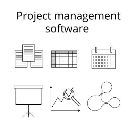 project management: Project management software icons set in line style