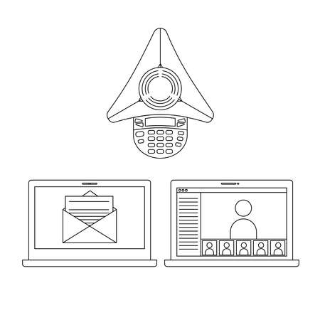 project management: Project management communication ways icons set in line style
