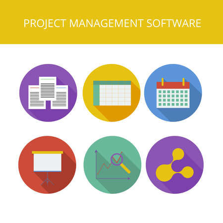 project management: Project management software icons set in flat style