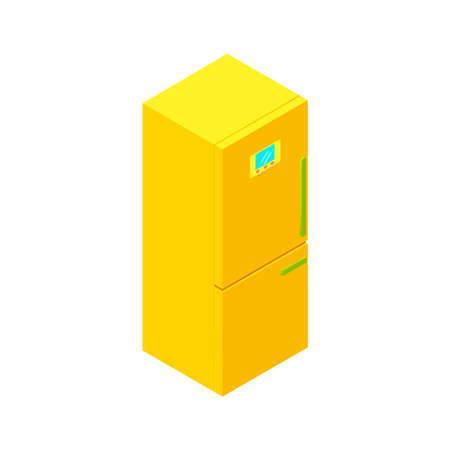 modern interior: Colorful isolated isometric fridge for modern interior and game design