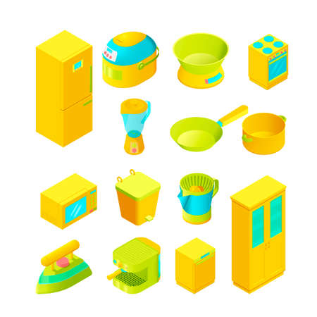 modern interior: Colorful isometric home appliances for modern interior and game design Illustration