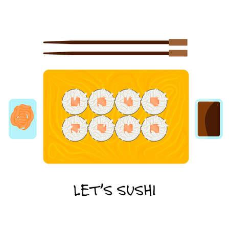nori: Food illustration -set of sushi roll with nori.