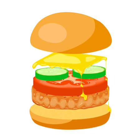 soaring: Delicious cheeseburger with soaring bun on white background. Fastfood american cuisine illustration