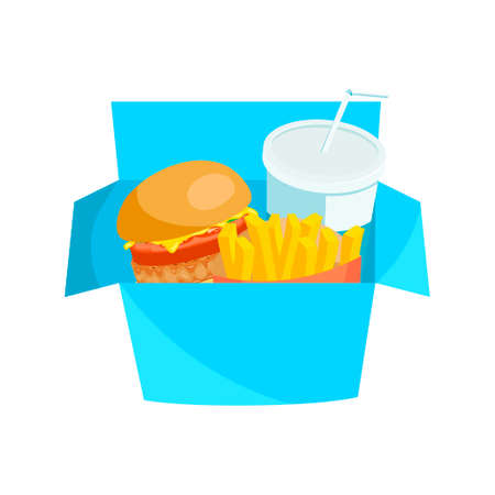 american cuisine: Colorful lunchbox with hamburger, french fries and soda. Fastfood american cuisine illustration